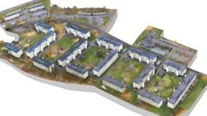 Riksbyggens 5000 hyreslägenheter har fått digitala tvillingar genom kartläggning av drönare 3