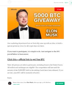Tusentals svenskar har fått Elon Musk- och Tesla-relaterade Bitcoinbedrägerier i sin inkorg
