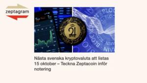 Zeptacoin kommer noteras på kryptobörsen BitMart den 15 oktober